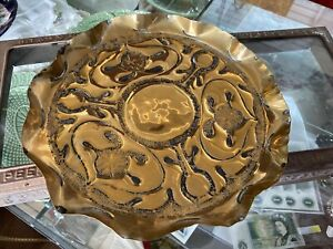 Antique Art Nouveau Arts And Crafts Brass Tray