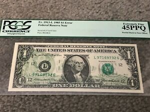 $1 Currency 1985 Federal Reserve Note Error Back To Face Offset