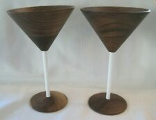 David Rasmussen Wooden Martini Cocktail Glasses Wood Pair White Stem Design