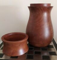 Interesting Vintage Turned Natural Wood Lidded Urn / Storage Container / Vase