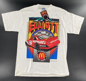 VTG 90s NASCAR #94 Bill Elliott McDonalds Racing Team T Shirt White Large New