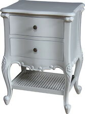 French Normandy Bedside Table 2 Drawers Rattan Shelf Light Grey Bs033g