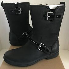 New Classic UGG Women's Jenise Short Black Leather Waterproof Boots Sz 9 Wmn