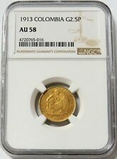 1913 GOLD COLOMBIA 2 1/2 PESOS STONE CUTTER COIN NGC ABOUT UNCIRCULATED 58