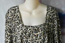 LANE BRYANT SZ 18/20 WOMENS PULL ON 3/4 SLEEVE ABSTRACT BAMBOO BLACK WHITE TANS
