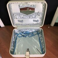 Cute Vintage WHEARY Suitcase Hard Shell Luggage Travel Bag Carry On Blue Lining