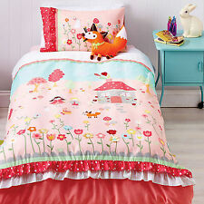 Storybook Girls Applique Reversible Ruffle DOUBLE Size Quilt Doona Cover Set