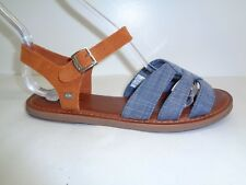 Toms Size 9.5 ZOE Chambray Denim Brown Suede Sandals New Womens Shoes
