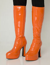 Orange Go Go Boots Women's Retro Knee High Platform Boots - Size 4 UK - EU 37