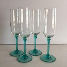Aqua Blue Stemmed Champagne Flutes Set Of 4