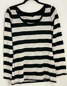Express Shirt Women's Large Long Sleeve Black White Striped Scoop Neck