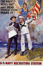 New listing War American Us Usa Navy Needs You Flag Station Vintage Poster Repro Small