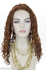 Exotic Long Spiral Curls 18 to 21 in Long Brunette Curly Wigs Center Skin Part