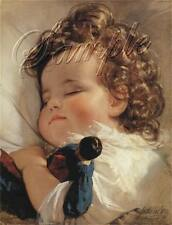 VINTAGE BABY CHILD ANTIQUE DOLL GIRL CURLS SLEEPING FRENCH CANVAS ART PRINT