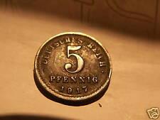 1917 DEUTSCHES REICH 5 PFENNIG COIN