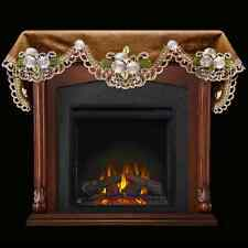 """Cocoa Brown with Silver Daisy 19"""" X 90"""" Fireplace Mantle Scarf"""
