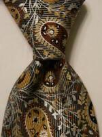 BRIONI Men's 100% Silk Necktie ITALY Luxury Geometric Gray/Brown/Silver EUC Rare
