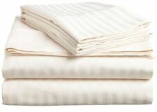 600 Count Bed 100% Egyptian Cotton Ivory Striped Deep Pocket 4-Pieces Sheet Set