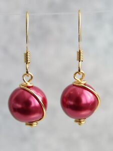Gold /  Silver  / Rose Gold Plated Red Pearl Dangle / Drop Hook Earrings