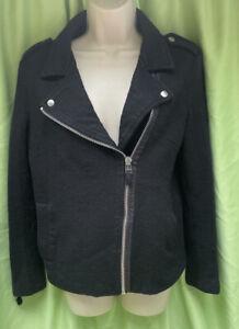 Dorothy Perkins Size M (12-14) Black Biker Jacket With Zipped Sleeves