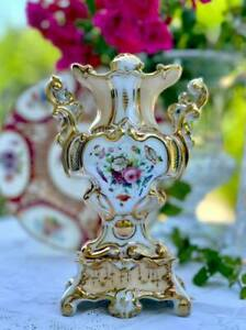 Old Paris Antique Hand Painted Vase with Flowers and Gildings 19th