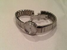 Ladies Silvertone Croton Designer Watch 1.10 CTTW Pave Diamond