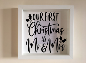 Box Frame Vinyl Decal Sticker Wall art Quote Our first christmas as Mr & Mrs