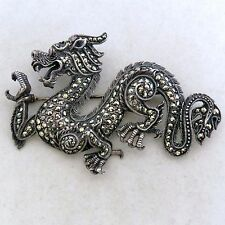 """2.75"""" Vintage Chinese Sterling Silver & Marcasite DRAGON Brooch w/ Ruby  (23.1g)"""