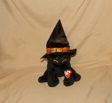 2005 Ty Pluffies Black Kitty Cat MERLIN Halloween Witch Hat Green Eyes 8""