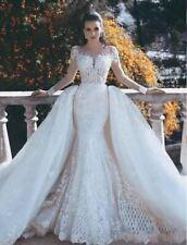 Luxus Weiße Brautkleider Mit Ärmel Spitze A Linie Hochzeitskleider