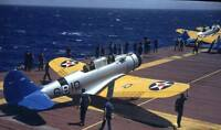 WWII Grumman BT-1 dive bomber on the deck of the Enterprise carrier/z47