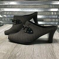 Aerosoles Women's Comfort Slip On Mules Horse Bit  Grey Black Shoe Size 7.5W
