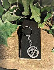 Handmade OM Amulet Silver Plate Keyring / Handbag Charm Gift Boxed.