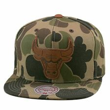 Mitchell & Ness Chicago Bulls Strapback Hat Lux(Woodland) Camo/Leather Logo