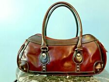Rina Rich Brown Leather?  Handbag Purse Satchel Lined Silver Hardware