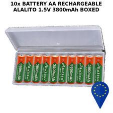 10x BATTERY ALALITO AA 3800mAh 1.5V BATTERIA RECHARGEABLE ALKALINE BOXED RAM