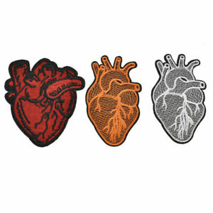 Embroidered Heart Patches Surgeon Sew on Iron on Applique Badge Garment Craft