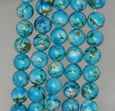 8MM BLUE TURQUOISE GEMSTONE BROWN SWIRLS ROUND 8MM LOOSE BEADS 16""