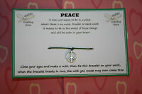PEACE SIGN Friendship Wish String Bracelet Gift KARMA Stocking Filler Present