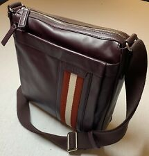 $900 Bally Large Merlot 100% Leather Messenger Bag With Adjustable Strap