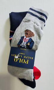 Polo Ralph Lauren Mens Blazer Bear Crew Socks 2 Pk Sz 10-13 - New