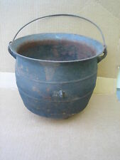 "ANTIQUE CAST IRON 3 FOOTED HANGING 11 3/4"" DIAMETER CAULDRON KETTLE W/ GATE MARK"