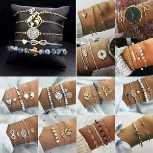 Bohemian Bracelet Set Women Stainless Steel Turquoise Cuff Bangle Chain Jewelry