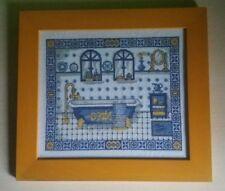 cuadro punto de cruz baño antiguo marco de calidad