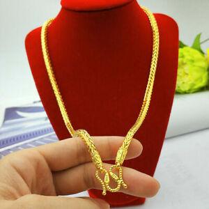 Eastfeeling Men's necklace Snake bone 22K 23K 24K THAI BAHT gold placed chain