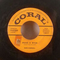 """Don Cornell Make a Wish / There Once Was a Beautiful 45 7"""" Coral comp sleeve VG+"""