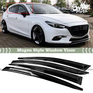 FITS 2014-2018 MAZDA 3 JDM 3D WAVY MUGEN STYLE WINDOW VISOR RAIN GUARD DEFECLTOR