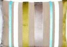 Striped Velvet Cushion Cover Designers Guild Fabric Trasimeno Aqua Rectangle