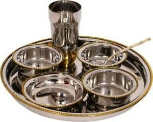 Two Tone 7 Pieces Thali Set Pack of 7 Dinner Set Stainless Steel Dinner Server
