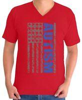 Autism Awareness Men's V-neck T shirts Shirts Tops Puzzle Flag